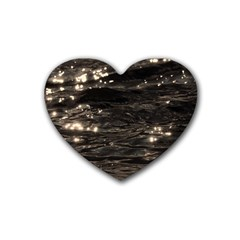 Lake Water Wave Mirroring Texture Rubber Coaster (heart)  by BangZart