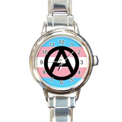 Anarchist Pride Round Italian Charm Watch by TransPrints