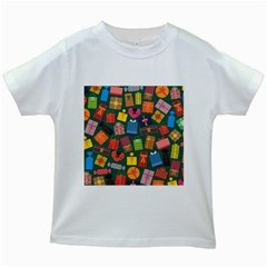 Presents Gifts Background Colorful Kids White T Shirts by BangZart