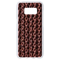 Chain Rusty Links Iron Metal Rust Samsung Galaxy S8 White Seamless Case by BangZart