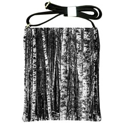 Birch Forest Trees Wood Natural Shoulder Sling Bags by BangZart