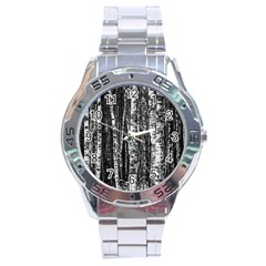 Birch Forest Trees Wood Natural Stainless Steel Analogue Watch by BangZart