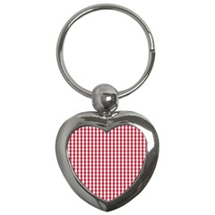 Usa Flag Red Blood Large Gingham Check Key Chains (heart)  by PodArtist