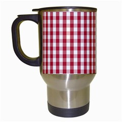 Usa Flag Red Blood Large Gingham Check Travel Mugs (white) by PodArtist
