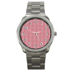 Usa Flag Red Blood Large Gingham Check Sport Metal Watch by PodArtist