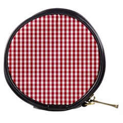 Usa Flag Red Blood Large Gingham Check Mini Makeup Bags by PodArtist
