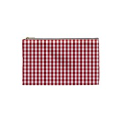 Usa Flag Red Blood Large Gingham Check Cosmetic Bag (small)  by PodArtist