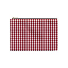 Usa Flag Red Blood Large Gingham Check Cosmetic Bag (medium)  by PodArtist