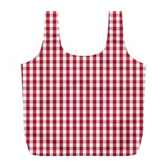 Usa Flag Red Blood Large Gingham Check Full Print Recycle Bags (l)  by PodArtist