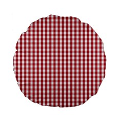 Usa Flag Red Blood Large Gingham Check Standard 15  Premium Flano Round Cushions by PodArtist