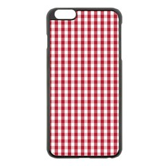 Usa Flag Red Blood Large Gingham Check Apple Iphone 6 Plus/6s Plus Black Enamel Case by PodArtist