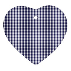 Usa Flag Blue Large Gingham Check Plaid  Ornament (heart) by PodArtist