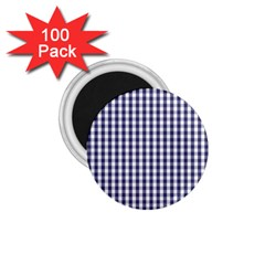 Usa Flag Blue Large Gingham Check Plaid  1 75  Magnets (100 Pack)  by PodArtist
