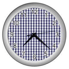 Usa Flag Blue Large Gingham Check Plaid  Wall Clocks (silver)  by PodArtist