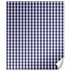 Usa Flag Blue Large Gingham Check Plaid  Canvas 20  X 24   by PodArtist