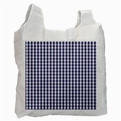Usa Flag Blue Large Gingham Check Plaid  Recycle Bag (two Side)  by PodArtist