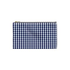 Usa Flag Blue Large Gingham Check Plaid  Cosmetic Bag (small)  by PodArtist
