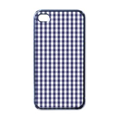 Usa Flag Blue Large Gingham Check Plaid  Apple Iphone 4 Case (black) by PodArtist