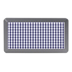 Usa Flag Blue Large Gingham Check Plaid  Memory Card Reader (mini) by PodArtist