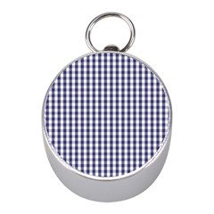 Usa Flag Blue Large Gingham Check Plaid  Mini Silver Compasses by PodArtist