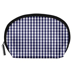 Usa Flag Blue Large Gingham Check Plaid  Accessory Pouches (large)  by PodArtist