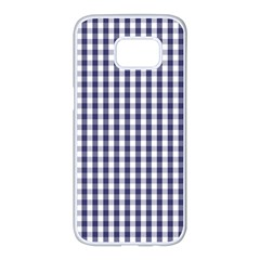 Usa Flag Blue Large Gingham Check Plaid  Samsung Galaxy S7 Edge White Seamless Case by PodArtist