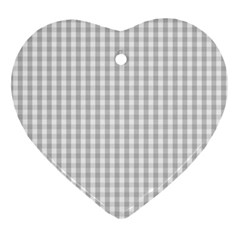 Christmas Silver Gingham Check Plaid Ornament (heart)