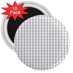 Christmas Silver Gingham Check Plaid 3  Magnets (10 Pack)  by PodArtist