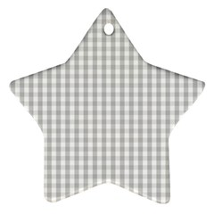 Christmas Silver Gingham Check Plaid Star Ornament (two Sides) by PodArtist