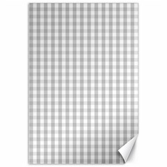 Christmas Silver Gingham Check Plaid Canvas 12  X 18   by PodArtist