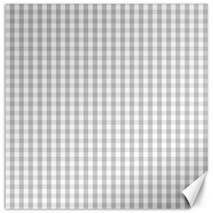 Christmas Silver Gingham Check Plaid Canvas 20  X 20   by PodArtist