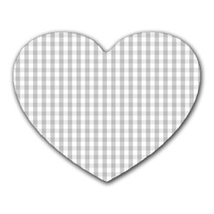 Christmas Silver Gingham Check Plaid Heart Mousepads by PodArtist