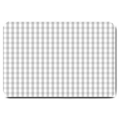 Christmas Silver Gingham Check Plaid Large Doormat  by PodArtist