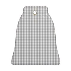 Christmas Silver Gingham Check Plaid Ornament (bell) by PodArtist