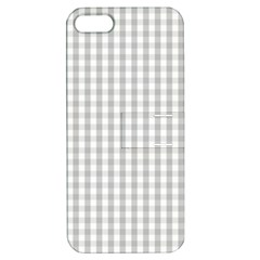 Christmas Silver Gingham Check Plaid Apple Iphone 5 Hardshell Case With Stand by PodArtist