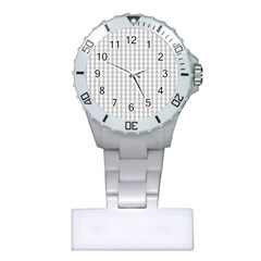 Christmas Silver Gingham Check Plaid Plastic Nurses Watch by PodArtist