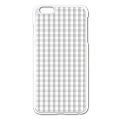 Christmas Silver Gingham Check Plaid Apple Iphone 6 Plus/6s Plus Enamel White Case by PodArtist