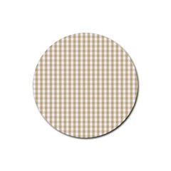 Christmas Gold Large Gingham Check Plaid Pattern Rubber Round Coaster (4 Pack)  by PodArtist