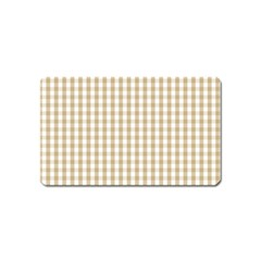Christmas Gold Large Gingham Check Plaid Pattern Magnet (name Card) by PodArtist