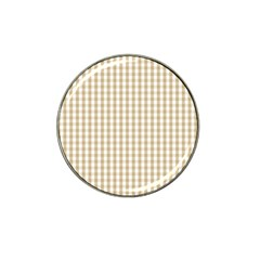 Christmas Gold Large Gingham Check Plaid Pattern Hat Clip Ball Marker (10 Pack) by PodArtist