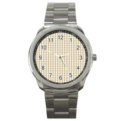 Christmas Gold Large Gingham Check Plaid Pattern Sport Metal Watch by PodArtist