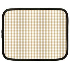 Christmas Gold Large Gingham Check Plaid Pattern Netbook Case (xl)  by PodArtist
