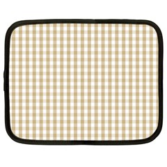 Christmas Gold Large Gingham Check Plaid Pattern Netbook Case (xxl)  by PodArtist
