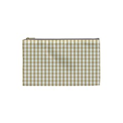 Christmas Gold Large Gingham Check Plaid Pattern Cosmetic Bag (small)  by PodArtist