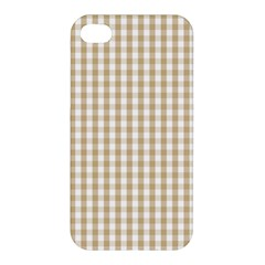 Christmas Gold Large Gingham Check Plaid Pattern Apple Iphone 4/4s Premium Hardshell Case by PodArtist