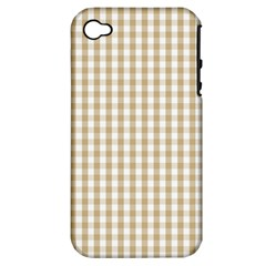 Christmas Gold Large Gingham Check Plaid Pattern Apple Iphone 4/4s Hardshell Case (pc+silicone) by PodArtist