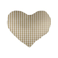Christmas Gold Large Gingham Check Plaid Pattern Standard 16  Premium Flano Heart Shape Cushions
