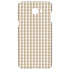 Christmas Gold Large Gingham Check Plaid Pattern Samsung C9 Pro Hardshell Case  by PodArtist