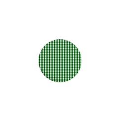 Christmas Green Velvet Large Gingham Check Plaid Pattern 1  Mini Buttons by PodArtist