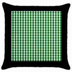 Christmas Green Velvet Large Gingham Check Plaid Pattern Throw Pillow Case (black)